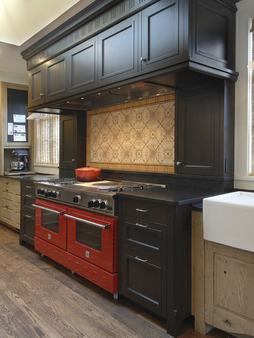 Elegant Kitchen Photo In Seattle With Colored Appliances, A Farmhouse Sink,  Recessed Panel