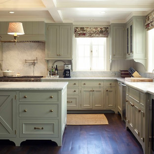 Kitchen - traditional kitchen idea in Seattle with marble countertops, green cabinets, white backsplash and marble backsplash