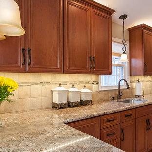 Zweizeilige, Kleine Klassische Wohnküche mit Unterbauwaschbecken, Schrankfronten mit vertiefter Füllung, hellbraunen Holzschränken, Granit-Arbeitsplatte, Küchenrückwand in Beige, Rückwand aus Porzellanfliesen, Küchengeräten aus Edelstahl, Porzellan-Bodenfliesen und Halbinsel in Baltimore