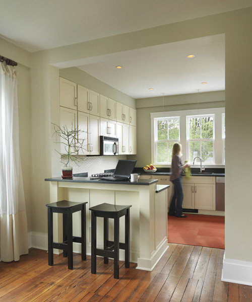 Half wall breakfast bar houzz for Front door enters into kitchen