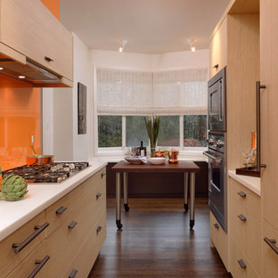 Small contemporary eat-in kitchen photos - Small trendy galley dark wood floor eat-in kitchen photo in DC Metro with an undermount sink, flat-panel cabinets, light wood cabinets, quartzite countertops, orange backsplash, stainless steel appliances, no island and glass sheet backsplash