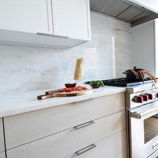 ワシントンD.C.の中くらいのミッドセンチュリースタイルのおしゃれなキッチン (アンダーカウンターシンク、シェーカースタイル扉のキャビネット、白いキャビネット、大理石カウンター、白いキッチンパネル、大理石のキッチンパネル、シルバーの調理設備、淡色無垢フローリング、茶色い床、白いキッチンカウンター) の写真