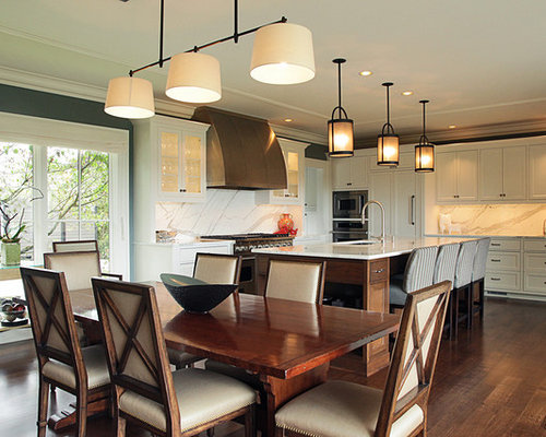 Inspiration For A Contemporary Eat In Kitchen Remodel In Seattle With  Shaker Cabinets, Paneled