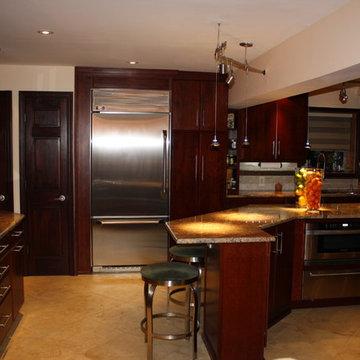 Washington Twp NJ Contemporary Kitchen - Burgundy Cherry Granite - Angled Island