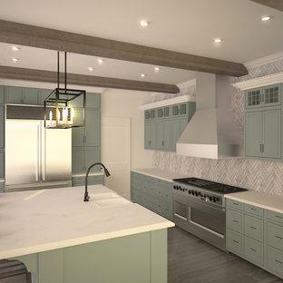 他の地域の大きいモダンスタイルのおしゃれなキッチン (アンダーカウンターシンク、落し込みパネル扉のキャビネット、青いキャビネット、珪岩カウンター、グレーのキッチンパネル、トラバーチンの床、シルバーの調理設備の、無垢フローリング、グレーの床、白いキッチンカウンター) の写真