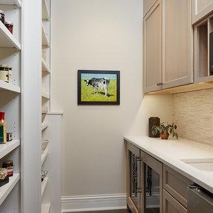 グランドラピッズの小さいトラディショナルスタイルのおしゃれなキッチン (アンダーカウンターシンク、シェーカースタイル扉のキャビネット、中間色木目調キャビネット、クオーツストーンカウンター、ベージュキッチンパネル、ボーダータイルのキッチンパネル、シルバーの調理設備の、濃色無垢フローリング、アイランドなし、茶色い床) の写真