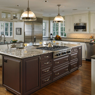 Eat In Kitchen Large Traditional U Shaped Dark Wood Floor And Brown