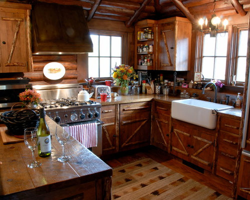 Small log cabin kitchens houzz for Kitchen cabinets 24x24