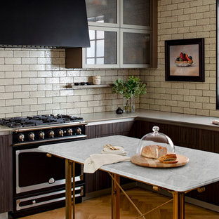 Transitional Kitchen Ideas L Shaped Medium Tone Wood Floor And Brown