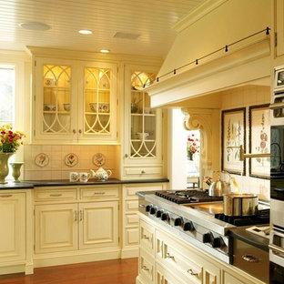 Foto de cocina rústica con armarios tipo vitrina, electrodomésticos de acero inoxidable, puertas de armario amarillas y encimera de esteatita