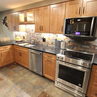 Waypoint Maple Spice Kitchen Cabinets w/ Fire & Ice Brick Mosaic Backsplash