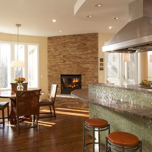 Eclectic eat-in kitchen designs - Eat-in kitchen - eclectic eat-in kitchen idea in Minneapolis with flat-panel cabinets