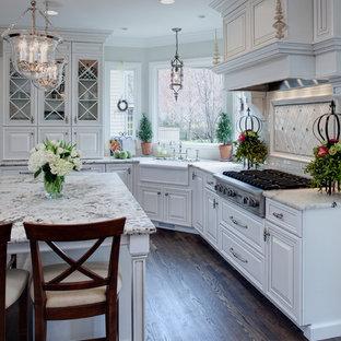Klassische Küche mit Landhausspüle, profilierten Schrankfronten, weißen Schränken und weißer Arbeitsplatte in Chicago