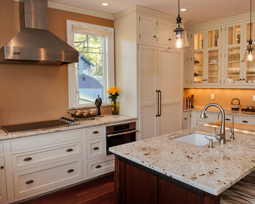 Colonial cream granite countertop houzz for Cream colored granite countertops