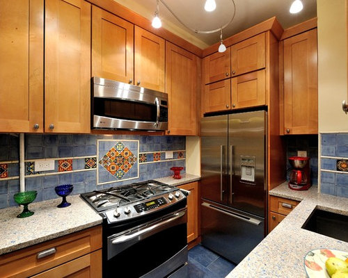Kitchen design ideas renovations photos with light wood for Kitchen cabinets made from recycled materials