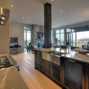 Пример оригинального дизайна интерьера: кухня в современном стиле с столешницей из гранита, фасадами с филенкой типа жалюзи и темными деревянными фасадами