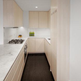 ニューヨークの小さいエクレクティックスタイルのおしゃれなキッチン (アンダーカウンターシンク、フラットパネル扉のキャビネット、ベージュのキャビネット、珪岩カウンター、白いキッチンパネル、ガラス板のキッチンパネル、パネルと同色の調理設備、濃色無垢フローリング、黒い床、白いキッチンカウンター) の写真