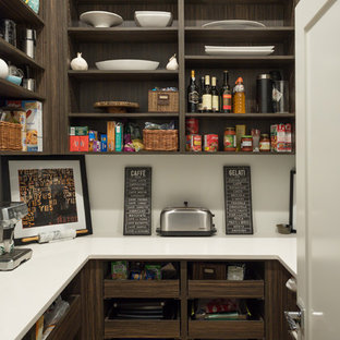 This is an example of a large contemporary single-wall kitchen pantry in Edmonton with an undermount sink, open cabinets, dark wood cabinets, quartz benchtops, white splashback, marble splashback, stainless steel appliances, medium hardwood floors, with island and brown floor.
