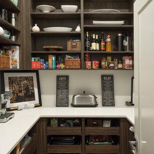Пример оригинального дизайна: большая линейная кухня в современном стиле с кладовкой, врезной раковиной, открытыми фасадами, темными деревянными фасадами, столешницей из кварцевого агломерата, белым фартуком, фартуком из мрамора, техникой из нержавеющей стали, паркетным полом среднего тона, островом и коричневым полом
