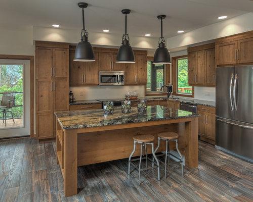best rustic kitchen with glass sheet backsplash design