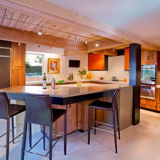 Midcentury l-shaped kitchen in Portland with open cabinets, orange cabinets, quartz benchtops, beige splashback, stone slab splashback and panelled appliances.