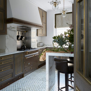Traditional open plan kitchen in London with beaded inset cabinets, dark wood cabinets, white splashback, stone slab splashback and marble floors.