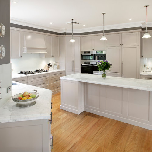 Charming Mid Sized Transitional Galley Medium Tone Wood Floor Kitchen Photo In  Sydney With White Cabinets Part 13