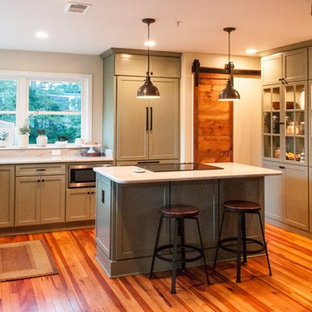 Design ideas for a large eclectic l-shaped open plan kitchen in Baltimore with a farmhouse sink, shaker cabinets, green cabinets, quartzite benchtops, panelled appliances, medium hardwood floors, with island and red floor.