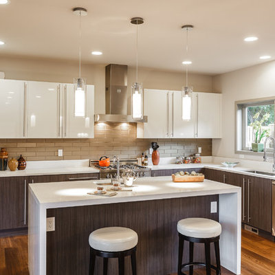 Kitchen - contemporary kitchen idea in Seattle with an undermount sink, flat-panel cabinets and white cabinets
