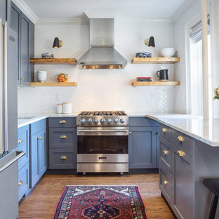 Small Transitional Kitchen Remodeling   Inspiration For A Small  Transitional U Shaped Medium Tone Wood