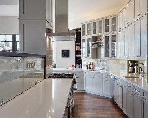 inspiration for a transitional l shaped dark wood floor kitchen remodel in new york with angled corner cabinets   houzz  rh   houzz com