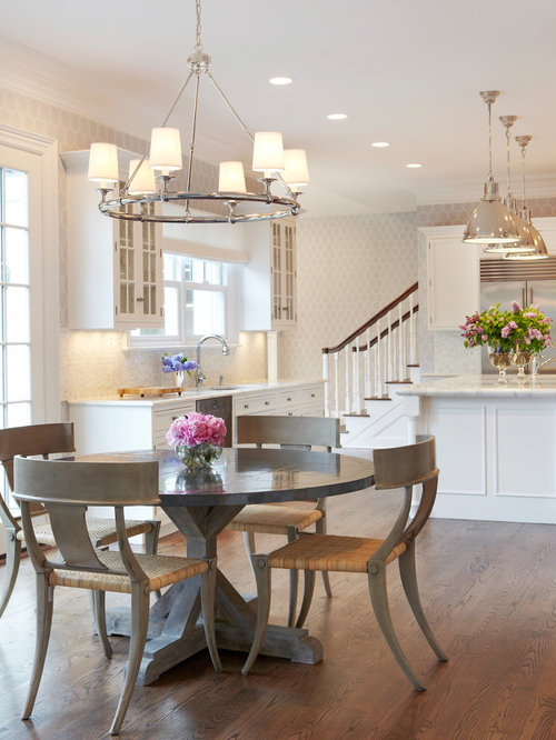Example Of A Transitional Eat In Kitchen Design New York With Gl Front