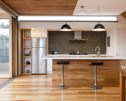 Design Ideas For A Contemporary Kitchen In Melbourne With Grey Splashback  And An Island. Part 96