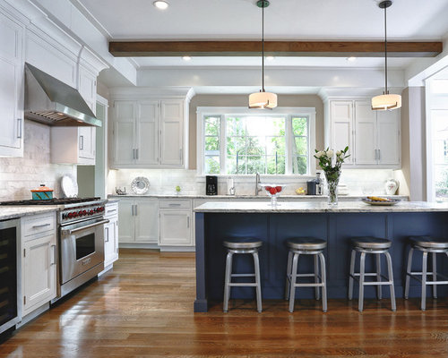 Blue island houzz for Navy blue and white kitchen cabinets