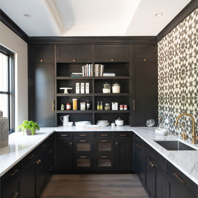Inspiration for a mid-sized rustic u-shaped light wood floor kitchen pantry remodel in Minneapolis with a single-bowl sink, brown cabinets, quartz countertops, ceramic backsplash, no island, shaker cabinets, multicolored backsplash and white countertops
