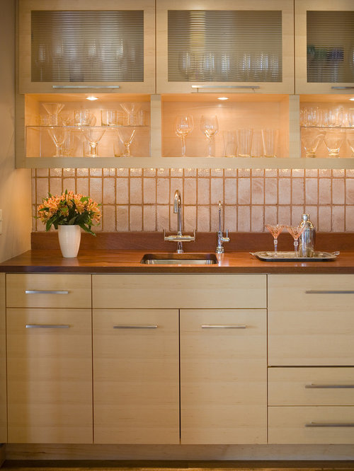 Inspiration For A Contemporary Single Wall Kitchen Remodel In Minneapolis  With Flat Panel Cabinets