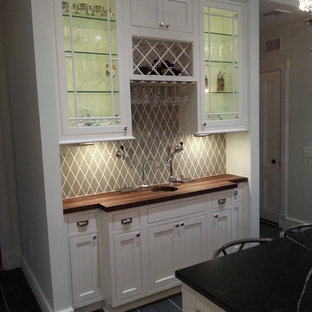 Design ideas for a large victorian u-shaped separate kitchen in Newark with an undermount sink, beaded inset cabinets, white cabinets, wood benchtops, green splashback, porcelain splashback, slate floors and with island.