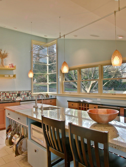 Example Of A Trendy Kitchen Design In Seattle With An Undermount Sink And Multicolored Backsplash