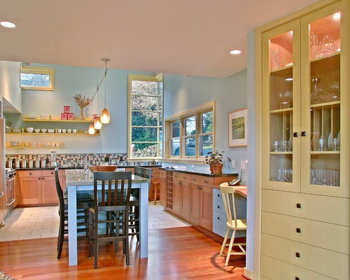 Blue and yellow kitchen houzz for Yellow and blue kitchen ideas