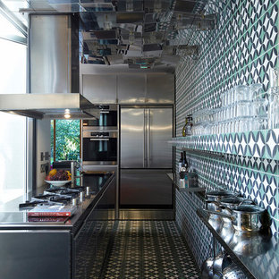 Example of an eclectic enclosed kitchen design in London with flat-panel cabinets, multicolored backsplash and an island