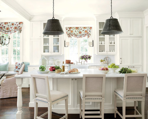 Inspiration For A Timeless Eat In Kitchen Remodel In Atlanta With A  Farmhouse Sink,