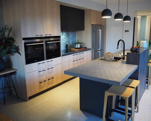 Küchen Mit Glasrückwand Und Arbeitsplatte Aus Fliesen Ideen Design - Küche glasrückwand auf fliesen