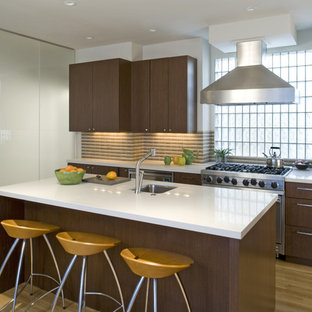 Contemporary kitchen photos - Trendy kitchen photo in San Francisco with stainless steel appliances, flat-panel cabinets, dark wood cabinets and multicolored backsplash