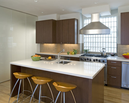 Glass block houzz - Glass wall panels kitchen ...