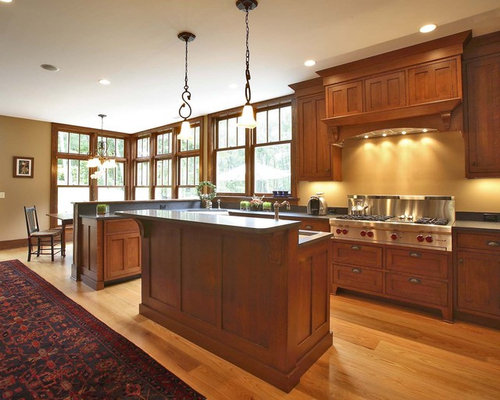 Cherry Cabinet Kitchen Designs. Inspiration for a craftsman kitchen remodel in New York with stainless  steel appliances Cherry Cabinets Kitchen Houzz
