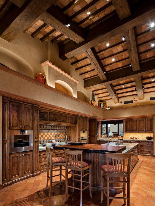 Southwestern Kitchen Photos   Kitchen   Southwestern Terra Cotta Floor And  Orange Floor Kitchen Idea