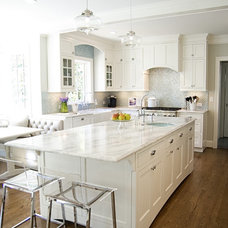 traditional kitchen White and Aqua Kitchen