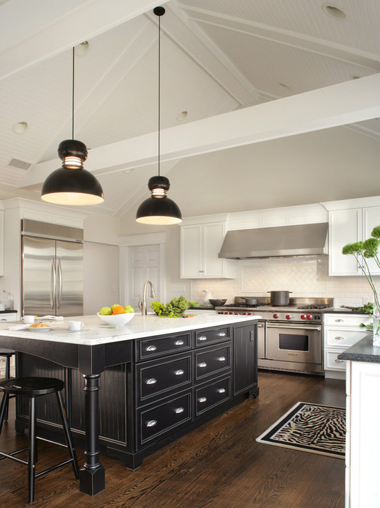White And Black Traditional Kitchen white cabinet black island | houzz