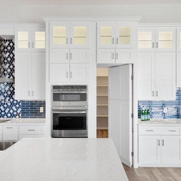 White and Blue Coastal Inspired Kitchen