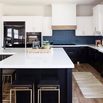 White and Blue Kitchen Remodel